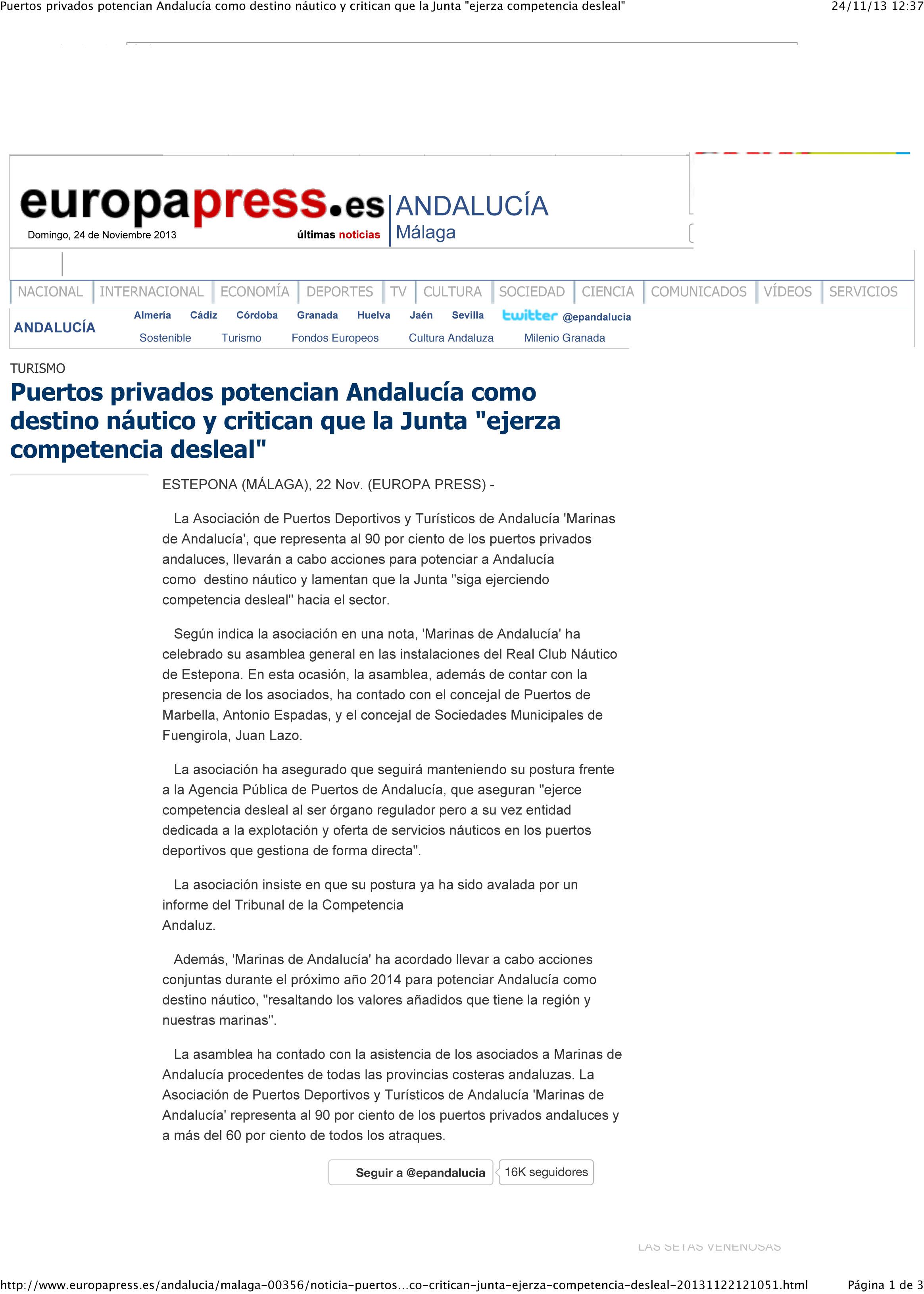 Periódicos, webs y agencias publican la noticia sobre la celebración de la Asamblea General de Marinas de Andalucía